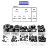 Suleve MXCH13 140Pcs Black Carbon Steel Nuts Hex Nut Washer Hexagonal Nuts M2-M10