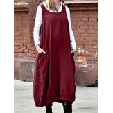 Vintage Sleeveless Crew Neck Loose Solid Color Casual Pocket Dress For Women