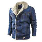 Mens dik warm Fleece Kraagvorm Winter Denim jas