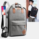 Мужчины 3PCS USB зарядка Наушник отверстие 15,6 дюймов Ноутбук Сумка Многофункциональный рюкзак