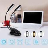 Cabezas dobles 10 LED Clip Table Light 3 modos de atenuación Batería powered Desk Lámpara para trabajos de lectura