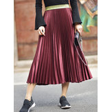 Elegant Women 6 Colors Velvet Pleated Skirts