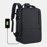 Men Oxford Extension Capacity USB Charging Multi-pocket Business Laptop Bag Backpack