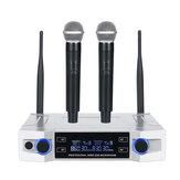 Système de microphone sans fil UHF professionnel 2 canaux 2 sans fil micro de poche Kraoke Speech Party fournitures microphone cardioïde