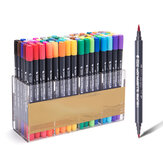 12/24/36/48/80 Colors Dual Tips Watercolor Brush Marker Pen Set with Fineliner Tip For Drawing Design Art Marker Supplies