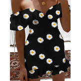 Chic Daisy Print Off Shoulder Short Sleeve Casual Mini Dress