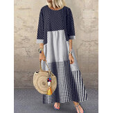 Original              O-Neck Full Sleeve Spliced Casual Dress With Side Pockets For Women