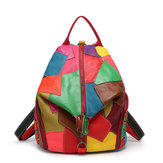 Women Casual Patchwork Genuine Leather Crossbody Bags
