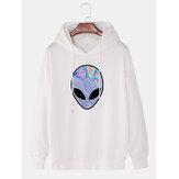 Mens Alien Print Drop Shoulder Simple Drawstring Hoodies