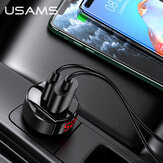 USAMS 42W 2-Port USB PD Car Charger QC4+ QC3.0 PD3.0 SCP FCP Fast Charging LED Digital Display For iPhone 11 SE 2020 For Samsung Galaxy Note 20 Mi10 Huawei P40