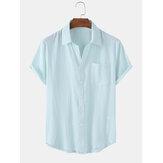 100%コットンメンズソリッドカラーボタンアップ居心地の良いカジュアルな半袖シャツ