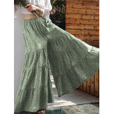 Women Floral Print Wide Flare Leg Pants Bohemian High Waist Culottes Skirt
