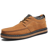 Men Brogue Style Knitted Suede Soft Sole Warm Oxfords Shoes