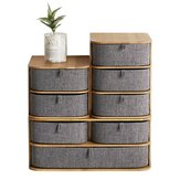 Grey Multi-Layer Mini Bamboo Desktop Drawer Sundries Case Storage Box Organizer Living Room Decorations