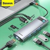 Adaptador de estação de acoplamento de hub USB-C 8 em 1 Baseus com entrega de energia PD de 100 W / 4K @ 30HZ HD Display / 3 * USB3.0 / RJ45 Gigabit Ethernet / leitores de cartão de memória