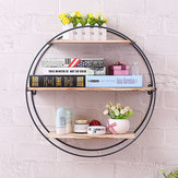 Retro Round Wood Iron Craft Wall Shelf Rack Storage Industrial Style Home Decorations