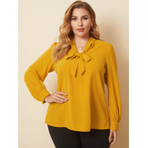 Plus Size Women Pure Color Pussybow OL Casual Long Sleeve Blouses