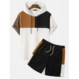 Original              Mens Hooded Waffle Knit Color Block Patchwork Shirts Shorts Two Pieces Outfits
