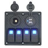 12V-24V 4 Gang LED Auto / Marine Boat / RV Circuito pannello interruttore a bilanciere Doppia alimentazione USB presa di corrente