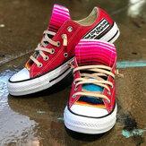 Büyük Boy Kadın Rahat Kanvas Bağcıklı Bez Düz Günlük Ayakkabılar