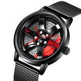 ONOLA ON3821 Cubo de rueda hueco 3D Diseño Impermeable Reloj de cuarzo de acero completo para hombre de moda