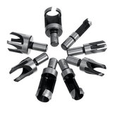 8pcs Wood Plug Hole Cutter Drill Bits Set Dowel Maker Cutting Tools Round Shank