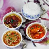 Simulatie Grote Kom Chinees Eten Met Porselein Lepje Sleutelhanger Huishoudelijke Decoratie