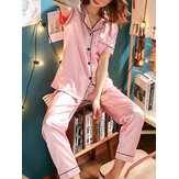 Plus Size Faux Silk Pajamas Two Pieces Loungewear With Long Pants