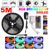 DC12V 5M 5050 RGB 300LED Strip Light Waterproof/Non-waterproof Tape Lamp + 44 Key Remote Control + 3A Power Adapter
