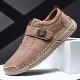 Menico Men Hand Stitching Microfiber Leather Hook Loop Soft Casual Shoes