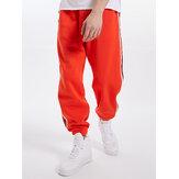 Corredor com cordão de cinto lateral masculino Calças com bolso