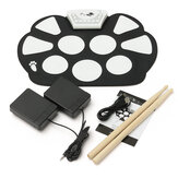 Pliable Roll Up USB Electronic Drum 9 Silicon Pad Kit Silicon w / Stick Kid Gift