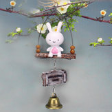 Wind Chimes Decorations Pendant Small White Rabbit Wolf Pendant Resin Crafts Gift Wind bell