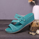 LOSTISY Women Handmade Stitching Hollow Casual Comfy Sandals