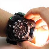 XPE Q5 LED IPX6 Relógio de pulso multifunções impermeável Lanterna Bicicleta Torch Light Carregamento USB