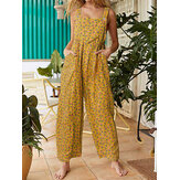 Women Vintage Ditsy Floral Print Double Pocket Casual Strappy Jumpsuits