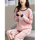 Kadın Karikatür Tavşan Baskı Kazak Ekose Elastik Bel Pantolon Pembe Ev Pijama Takımı