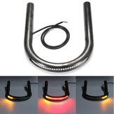 Cafe Racer Frame Hoop Tracker End Flat Seat Loop con LED Turn Brake Light