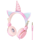 Bakeey 3.5mm Cute Unicorn Over-Ear Headphones Kids Cartoon Stereo Headset Earphone Built-in Microphone