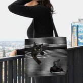 Women Felt Cute 3D Three-dimensional Black Cat Stripes Pattern Shoulder Bag Handbag Tote