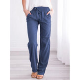 Women Casual Solid Color Elastic Waist Straight Pants