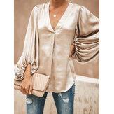Damen Einfarbige Hemden mit V-Ausschnitt und Laternenhülse