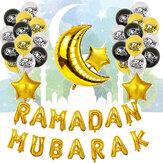 Eid Ramadan Mubarak levél Pentagram Hold party fólia léggömb dekorációs készlet