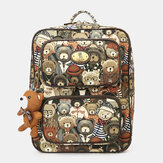 Women Bear Pattern Large Capacity Backpack