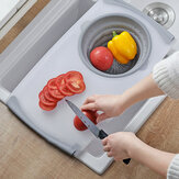 Kitchen Telescopic Multifunctional Thick Plastic Chopping Board Drain Storage Basket