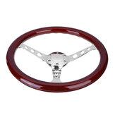 15 дюймов Универсальное рулевое колесо Авто Модифицированное рулевое колесо цвета красного дерева в стиле ретро, подходящее для Volkswagen Transpor