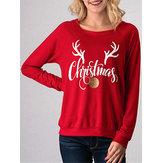 Bluza z nadrukiem z długimi rękawami Casual Deer Horn damska