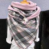 Damska bawełna Plus Gruby, ciepły zimowy, na co dzień, w kratkę, kontrastowy kolor, uniwersalny szalik
