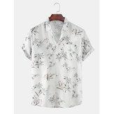 Camicie da uomo casual a maniche corte Hawaii con stampa rovesciata sul collo tascabile