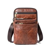 Uomo Vera Pelle Shoulder Borsa Messenger Crossbody Handbag Vintage Storage Borsa Viaggio all'aperto